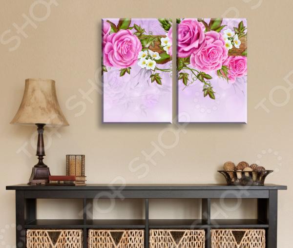 Картина 2-модульная ТамиТекс «Китайские розы»