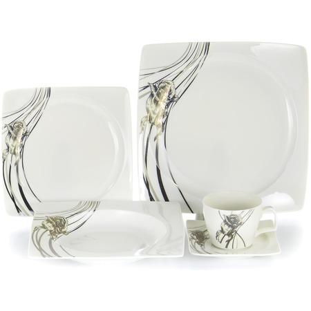 Купить Набор столовой посуды OlAff «Белый квадрат. Роза». Количество предметов: 30