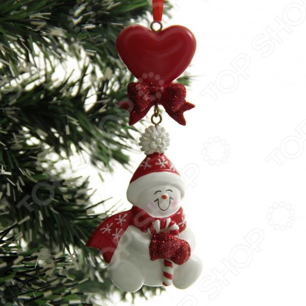 Елочное украшение Crystal Deco «Снеговик с сердечком»