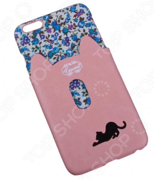 Чехол для iPhone 6/6S Plus «Черная кошка с розовым кармашком»