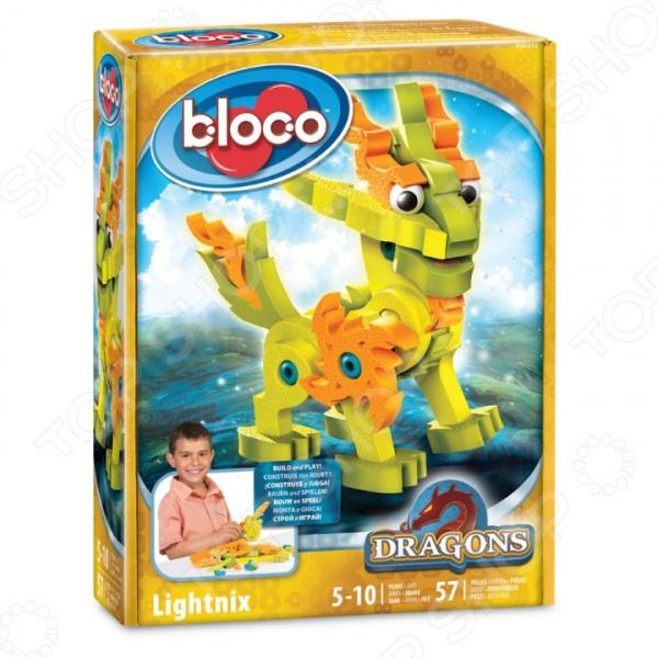 Конструктор мягкий Bloco «Дракон Лайтникс» bloco конструктор динозавры велоцераптор и птерозавр