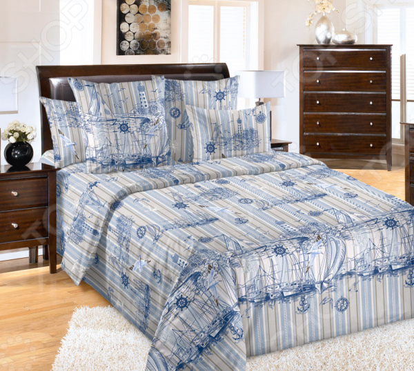 Комплект постельного белья ТексДизайн «Акватория 1» комплект постельного белья altinbasak 1 5 сп ранфорс athletik голубой 298 42 char001