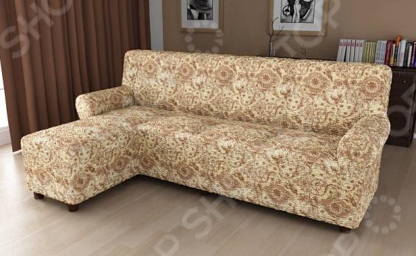 Натяжной чехол на угловой диван с выступом слева Еврочехол «Виста. Флоренция» 2