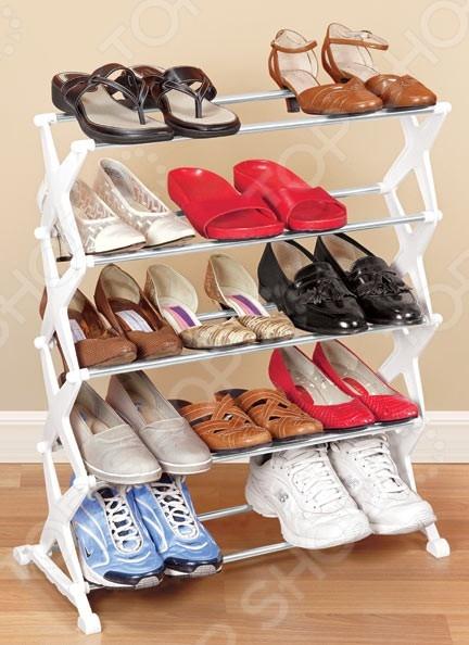 Товар продается в ассортименте. Цвет изделия при комплектации заказа зависит от наличия товарного ассортимента на складе. Полка складная для обуви 31 ВЕК 27040 универсальная полка, которая позволяет аккуратно разметить большое количество обуви, не занимая при этом большого пространства. Полка рассчитана на удобное и комфортное хранение до 15 пар обуви, включая сапоги, туфли, ботинки домашние тапочки. Благодаря такому простому, но очень практичному приспособлению, вам не придется искать дополнительное место для вашей обуви в чулане, кладовке или платяном шкафу. К тому же, обувь сможет быстро обсохнуть после носки. Конструкция ножек обеспечивает отличную устойчивость полки. За счет своих небольших габаритов и складной конструкции, полка сможет поместиться даже в небольших коридорах или прихожих, станет прекрасным решением для дач и балконов.