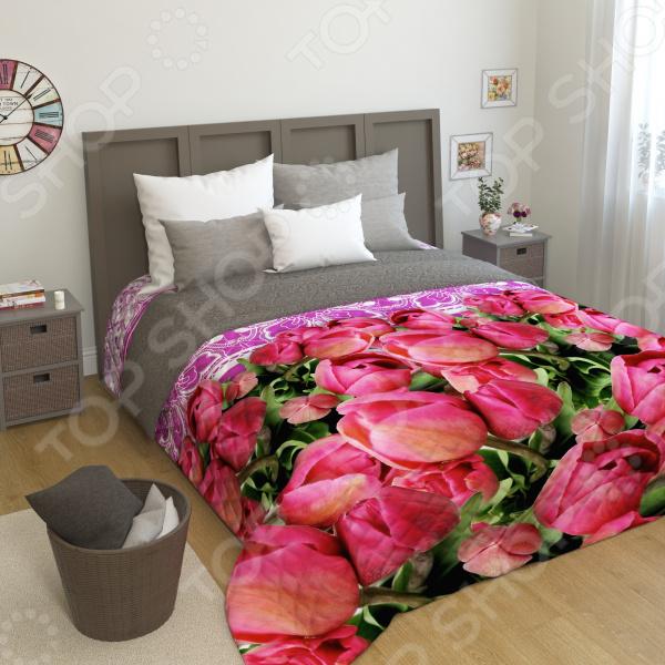 цена Фотопокрывало стеганное Сирень «Кружево и тюльпаны» онлайн в 2017 году