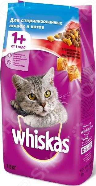 Корм сухой для стерилизованных кошек Whiskas Special с говядиной