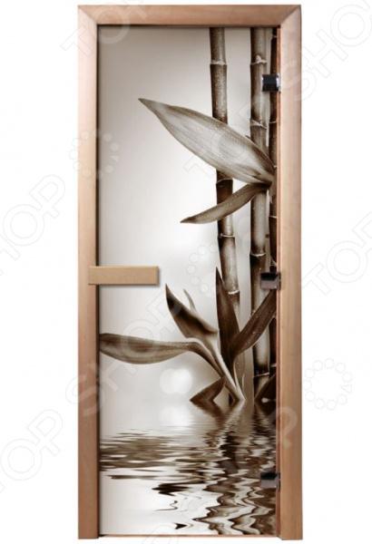 Дверь для бани с фотопечатью Банные штучки «Бамбук» 32676 печь для бани и сауны костёр парус 24