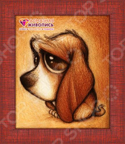 Набор для создания картины со стразами Алмазная живопись «Хмурый пес»