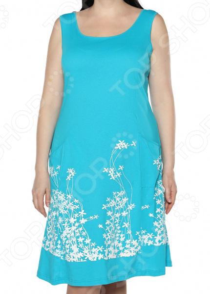 Платье Алтекс «Цветущий сад». Цвет: бирюзовый