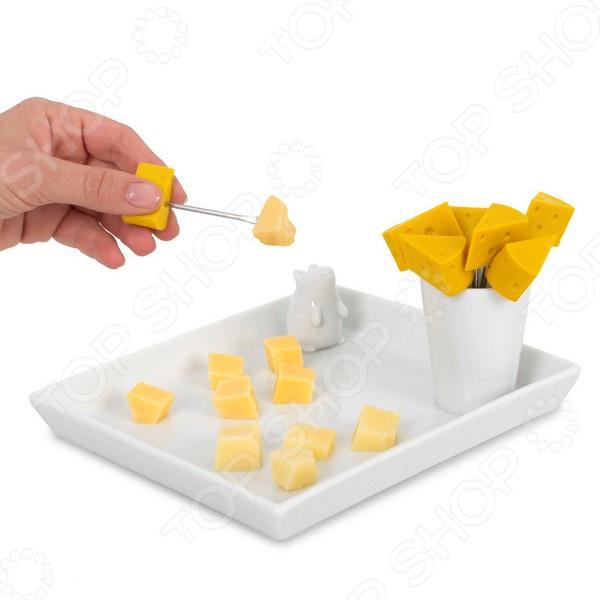 Набор из блюда и шпажек для сыра Balvi I Love Cheese комлев и ковыль