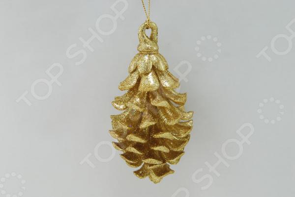 Новогоднее украшение Crystal Deco «Шишка с блестками» шишка с блестками 15см