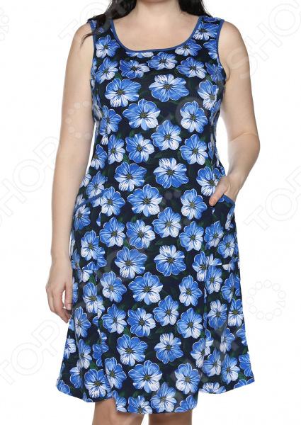 Платье Алтекс «Изобилие цветов». Цвет: васильковый