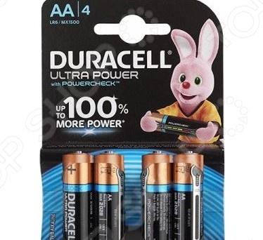 Набор батареек щелочных Duracell LR6-4BL Ultra Power батарейка aaa duracell lr03 4bl ultra power 4 штуки