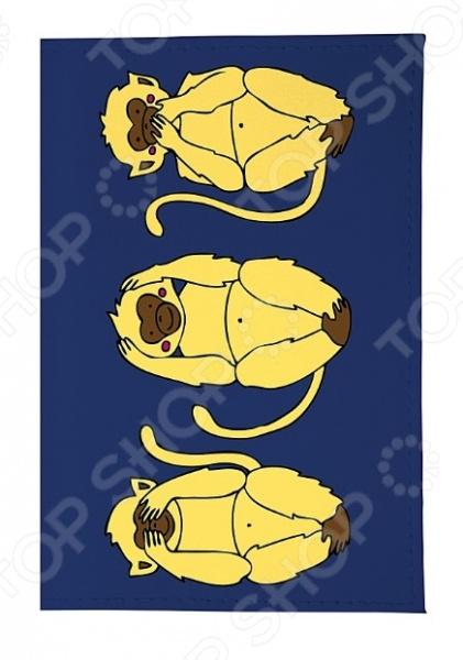 Обложка для паспорта кожаная Mitya Veselkov «Три мудрых обезьяны на синем»