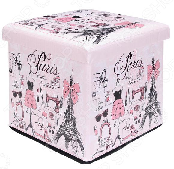 Пуф складной с ящиком для хранения EL Casa «Париж-мода» EL Casa - артикул: 1304627