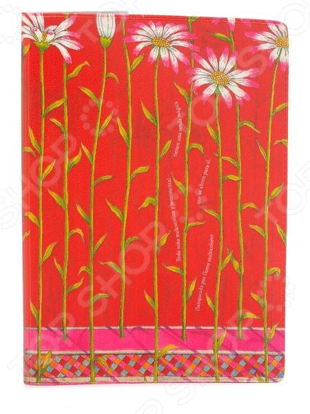 Обложка для паспорта кожаная Mitya Veselkov «Ромашки на красном»