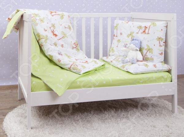 цена Ясельный комплект постельного белья MIRAROSSI Giungla green