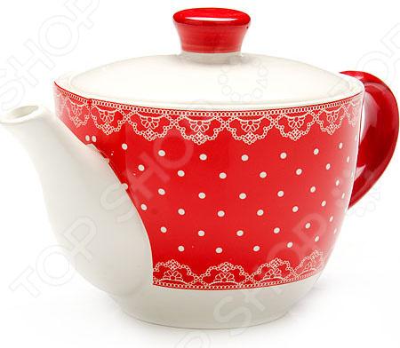 Чайник заварочный Loraine LR-25822 «Узор из горошка и кружева»