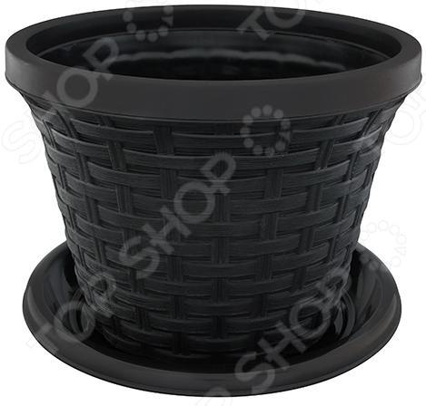 Кашпо круглое с поддоном Violet «Ротанг». Цвет: черный