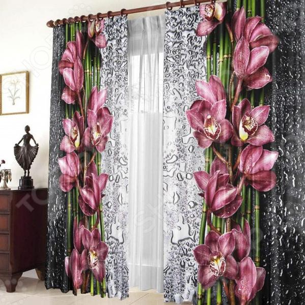 Фотошторы ТамиТекс «Орхидея на стекле»