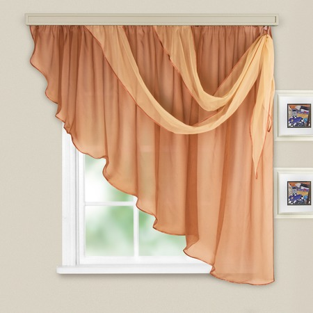 Купить Комплект легких штор правосторонний WITERRA «Азалия». Цвет: какао