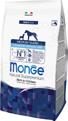 Корм сухой для щенков средних пород Monge Natural Superpremium Medium Starter Rich in Chicken