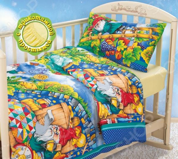 Ясельный комплект постельного белья Бамбино «Гномики» с трикотажной простыней постельное белье гномики бязь ясельный