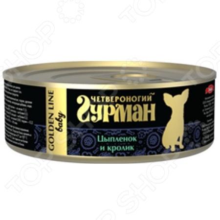 Корм консервированный для щенков Четвероногий Гурман Golden «Цыпленок и кролик в желе»