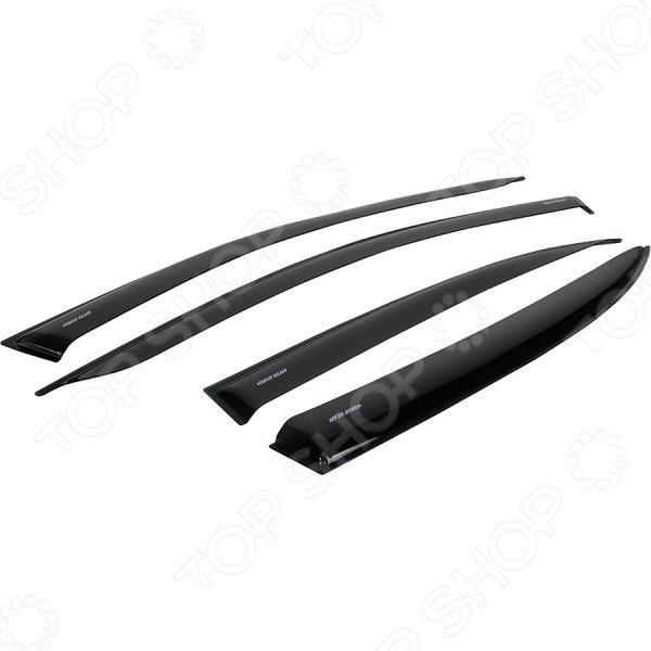 Дефлекторы окон неломающиеся накладные Azard Voron Glass Samurai Ford Foсus III 2011 седан